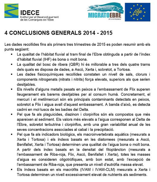 Conclusions qualitat aigües de l'Ebre 2014-2015